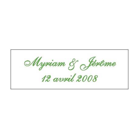 Lot d'étiquettes personnalisées Vert prairie - Étiquettes pour boîtes à dragées - Dragées Braquier