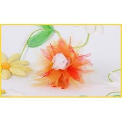Fleur en bois mauve sur boule GM