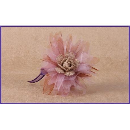 Fleur jute sur tulle mauve