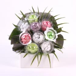 Bouquet vert anis – gris