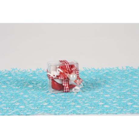 Bijoux carrés corail sur boite