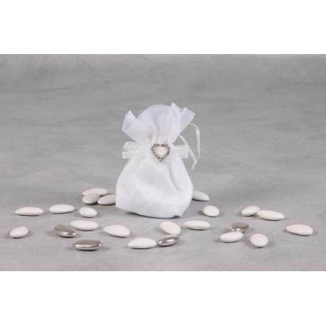 Pochon blanc cœur strass - Boîtes à dragées - Dragées Braquier
