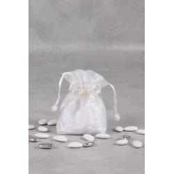 Pochon blanc brodé perles