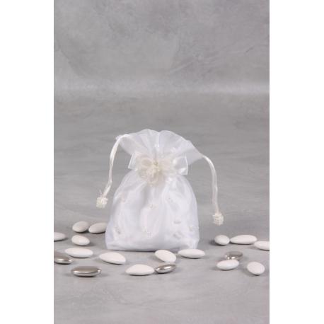 Pochon blanc brodé perles - Boîtes à dragées - Dragées Braquier