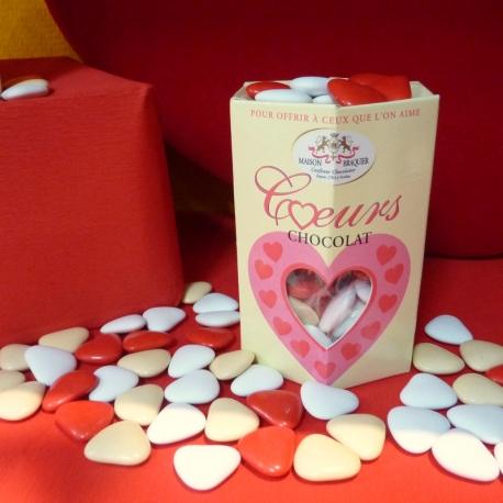 Chocolate heart, Cardboard-box 200 g - Dragées Braquier, confiseur chocolatier à Verdun