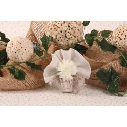 Tulle papillon et dahlia - Pochon à dragées - Mariage Collection Nature