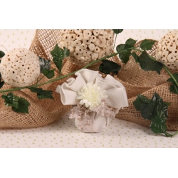 Tulle quadrillé et dahlia - Boîte à dragées Mariage Nature