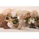 Tulle quadrillé et dahlia - Boîte à dragées Mariage Collection Nature