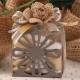 Fleur jute sur fleur métal grise - Boîte à dragées Mariage Nature