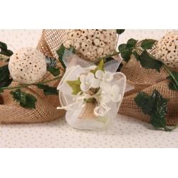 Orchidées sur tulle écru - Pochon à dragées Mariage Nature