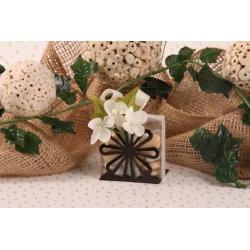 Orchidées sur fleur métal brune - Boîte à dragées Mariage Nature