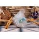 Perle sur tulle bleu - Boîte à dragées Mariage Marin