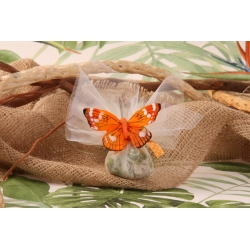 Papillon orange sur tulle - Pochon à dragées Mariage tropical