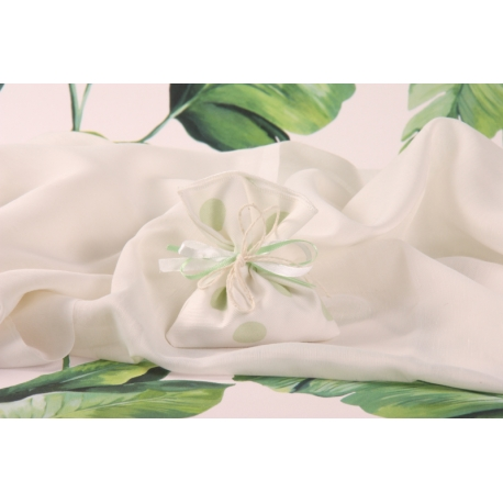 Pochon à dragées blanc à pois verts