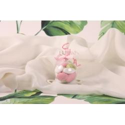 Boule vichy rose - Boîte à dragées transparente