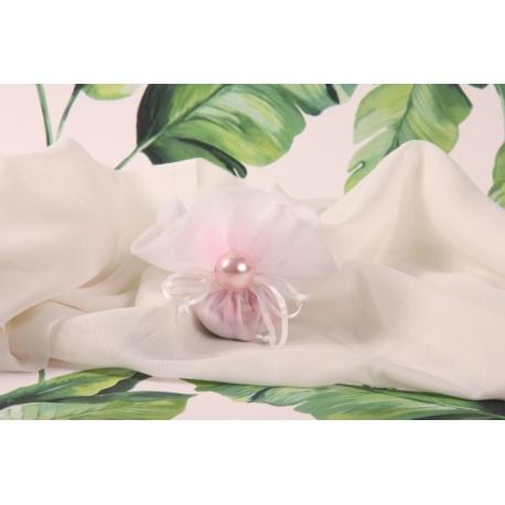 Perle rose sur tulle à dragée - Collection Exotique