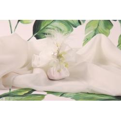 Tulle à dragées dentelle blanc et piquet perle - Collection Exotique