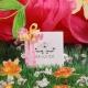 Caritas blanche, ruban froufrou, boîte à dragées - Collection Baptême Pauline Fleurie