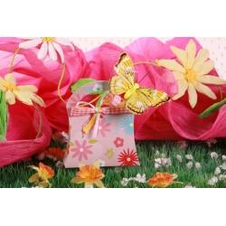 Sixties FLEURI papillon jaune, boîte à dragées - Collection Baptême Pauline Fleurie