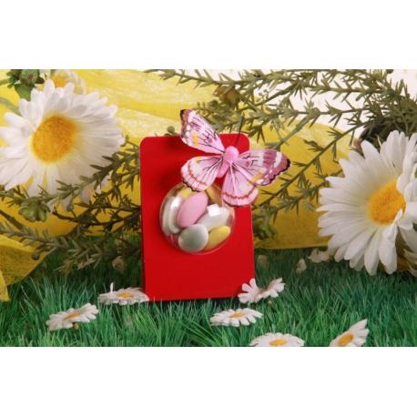 Papillon rose sur portant boule - Boîte à dragées, Collection Mariage sur l'Herbe