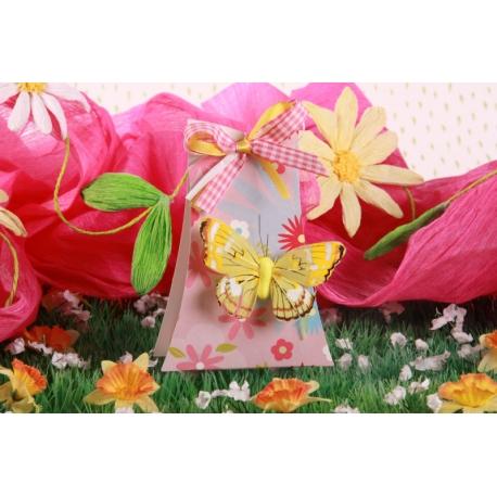 Arbre FLEURI papillon jaune, boîte à dragées - Collection Baptême Pauline Fleurie