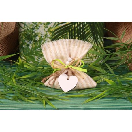 Cœur en bois sur pochon rayé Lin - Pochon à dragées