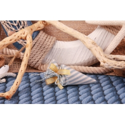 Cornet à dragées en lin rayé bleu