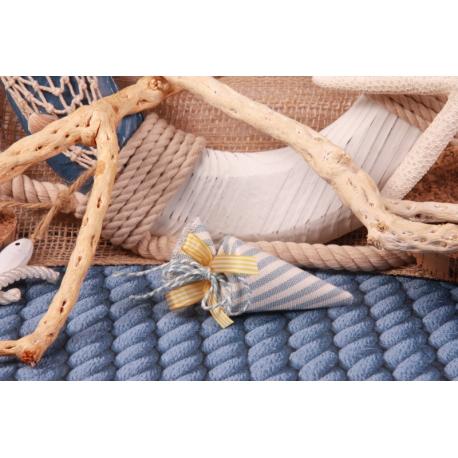 Cornet en lin ligne bleu