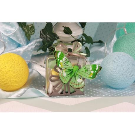 Papillon vert sur support gris - Boîte à dragées