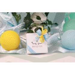 Caritas blanche, ruban Vichy bleu - Boîtes à dragées - Dragées Braquier
