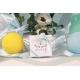 Caritas blanche, ruban satin bleu ciel - Boîtes à dragées - Dragées Braquier