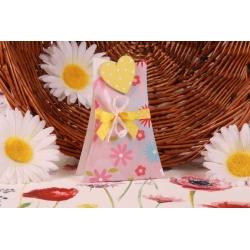 Cœur jaune sur Arbre Fleuri - Boîte à dragées