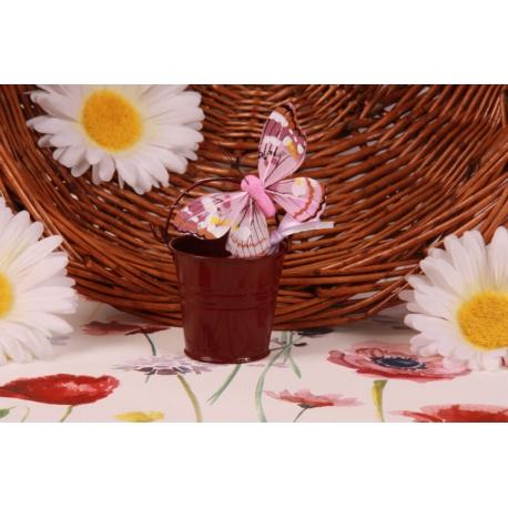 Papillon rose sur seau bordeaux - Boîtes à dragées - Dragées Braquier