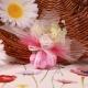 Bouquet fleur rose sur tulle - Contenant à dragées