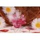 Piquet fleur vert sur tulle fuchsia - Contenant à dragées