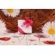 Caritas blanc ruban fuchsia - Boîte à dragées