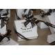 Caritas blanc, ruban noir & or - Boîtes à dragées - Dragées Braquier