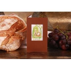Menu bougie et missel marron et vert - Boîtes à dragées - Dragées Braquier