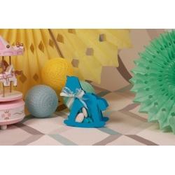 Cheval à bascule bleu turquoise - Boîte à dragées Baptême