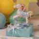 Cheval bleu sur boîte - Boîte à dragées Baptême