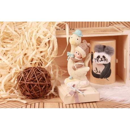 Bébé cigogne bleu - Boîte à dragées Baptême
