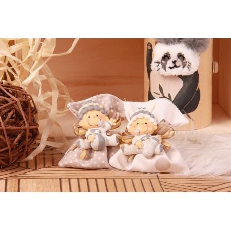 Duo bébé biberon sur pochon - Boîte à dragées Baptême