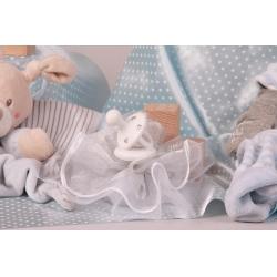 Tétine blanche sur tulle - Boîtes à dragées - Dragées Braquier