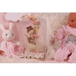 Bébé sur cigogne rose - Boîtes à dragées - Dragées Braquier