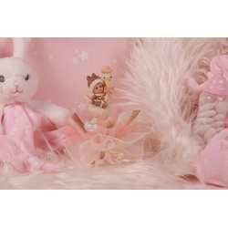 Bébé cigogne rose sur tulle - Boîtes à dragées - Dragées Braquier