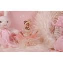 Bébé cigogne rose sur tulle