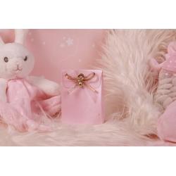 Pochette rose tétine or - Boîtes à dragées - Dragées Braquier