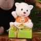 Chat orange sur boîte Nina - Boîte à dragées Baptême