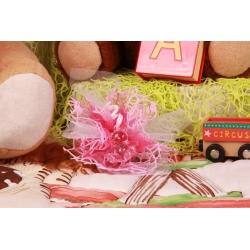 Ourson rose sur tulle filet - Boîtes à dragées - Dragées Braquier