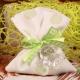 Ourson sur pochon à pois vert - Boîtes à dragées - Dragées Braquier
